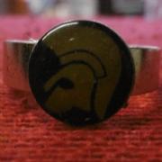 Black and Yellow Trojan Head Ring